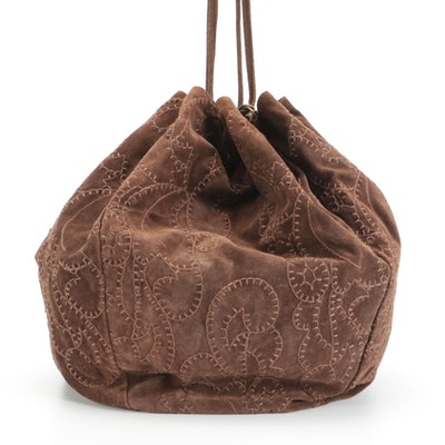 Prada Brown Suede Drawstring Hobo Bag with Stitching Details and Tasseled Strap