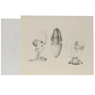 """Sherrill Eskew Massey Lithograph """"The Fan is Third Cousin of the Wasp,"""" 1971"""