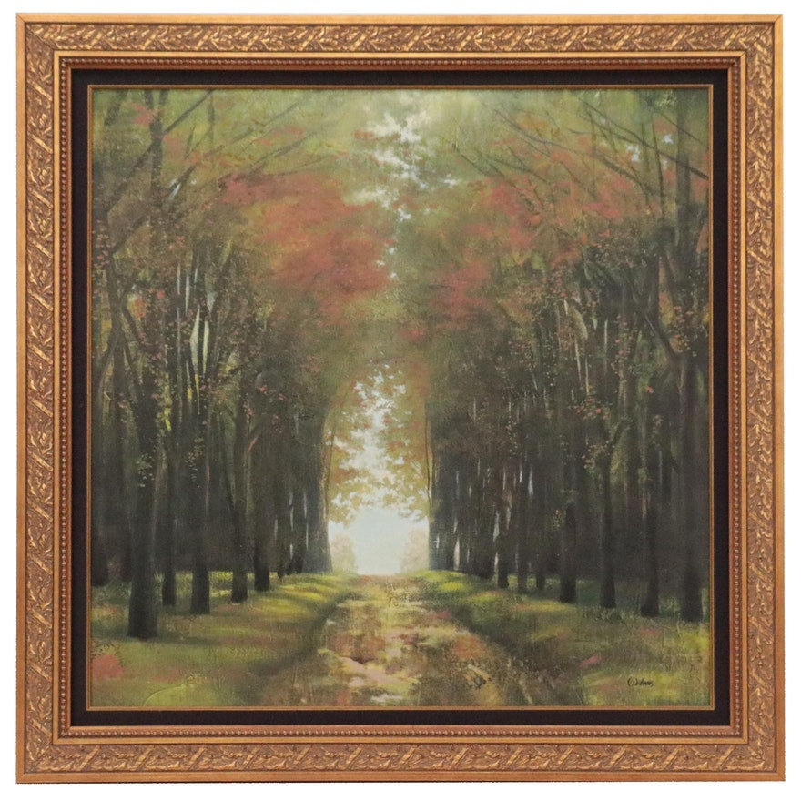 Ladscape Embellished Giclée of Forest Path, Late 20th Century