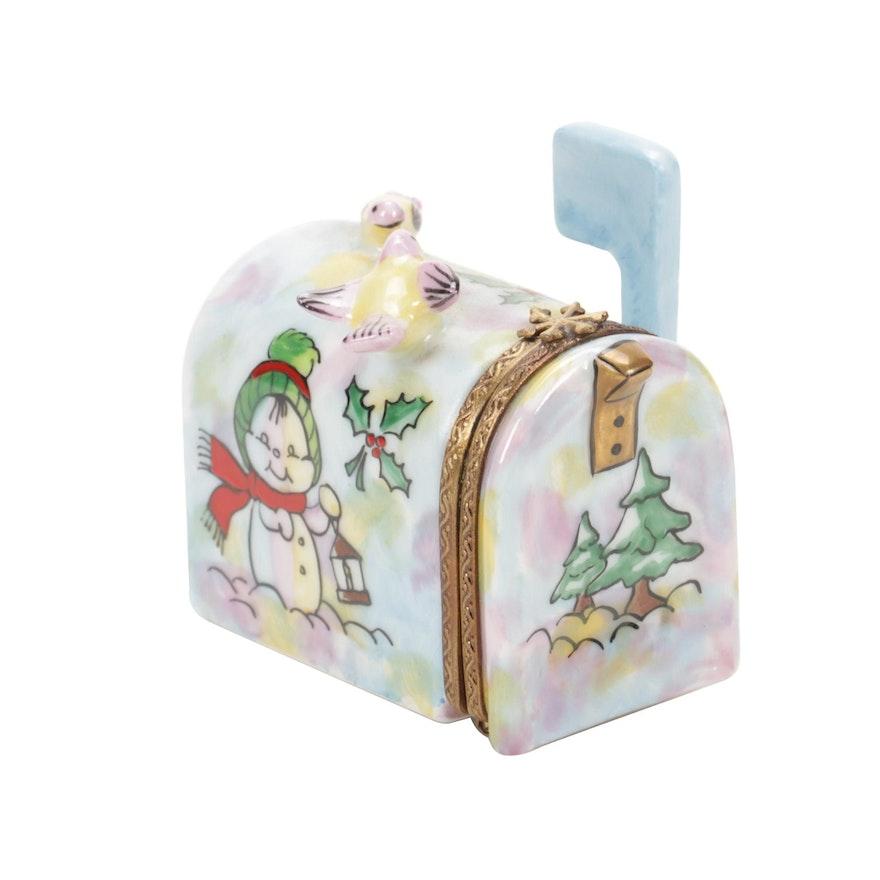 Elda Créations Hand-Painted Winter Mailbox Limoges Porcelain Box