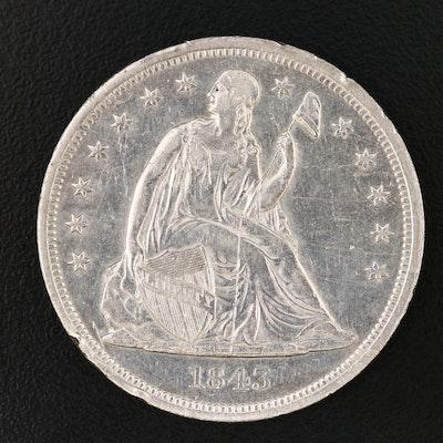"1843 Seated Liberty ""No Motto"" Silver Dollar"