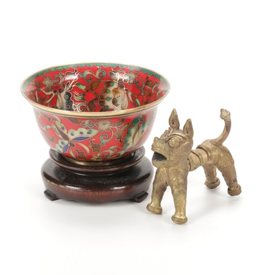 Robert Kuo Chinese Cloisonné Bowl With Stand And Dog Figurine, Late 20th Century