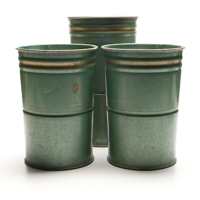 Painted Galvanized Floral Buckets, Contemporary