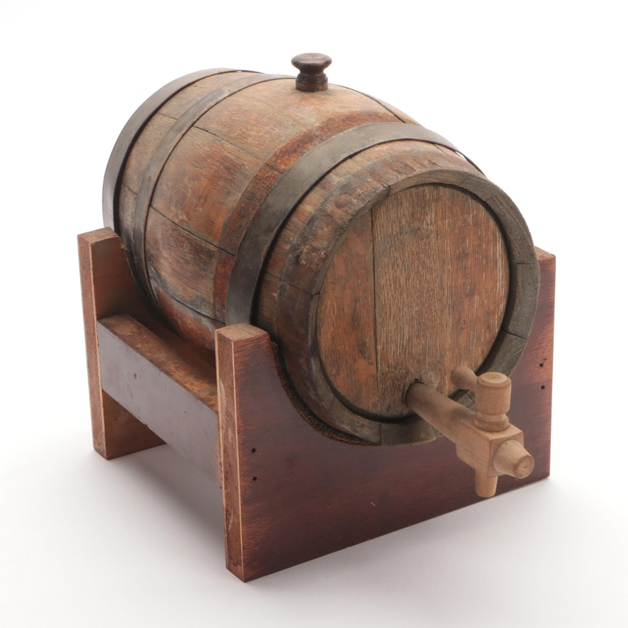 Wooden Wine Cask on Stand, Early 20th Century