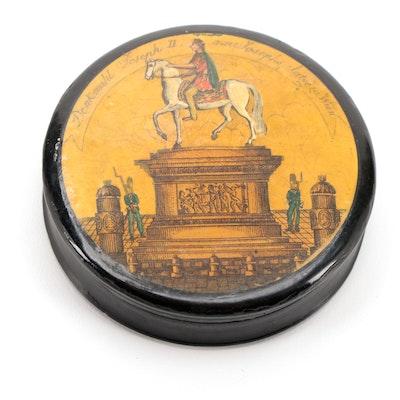 Austrian Holy Roman Emperor Joseph II Monument Lacquered Papier-Mâché Snuff Box
