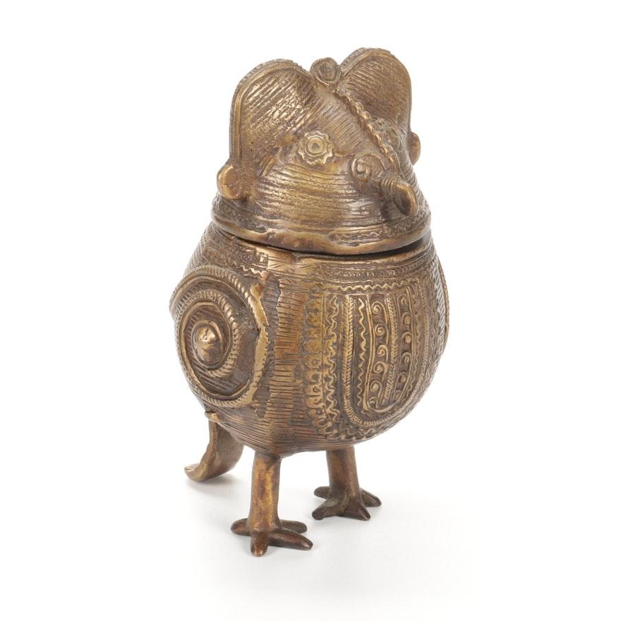 Indian Figural Cast Bronze Trinket Box