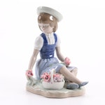 """Lladró """"With Wild Flowers"""" Porcelain Figurine Designed by Francisco Catalá"""