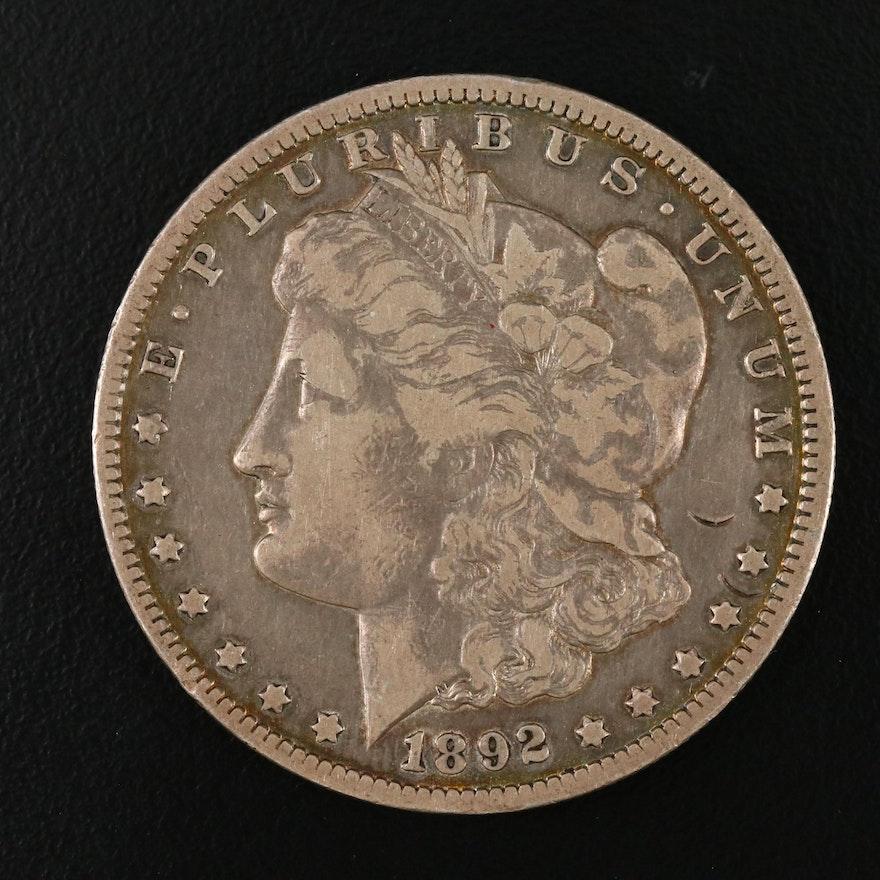 Toned Better Date 1892-O Morgan Silver Dollar