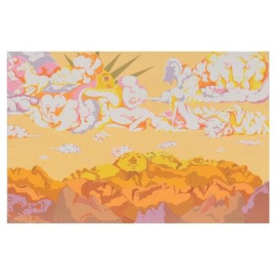 "Susan Tereba Serigraph ""The Mountains Admiring the Clouds,"" 1979"