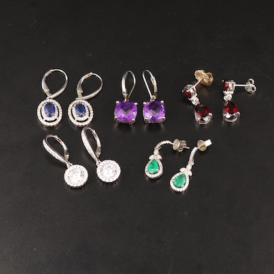 Sterling Silver Earrings Featuring Garnet, Amethyst and Emerald