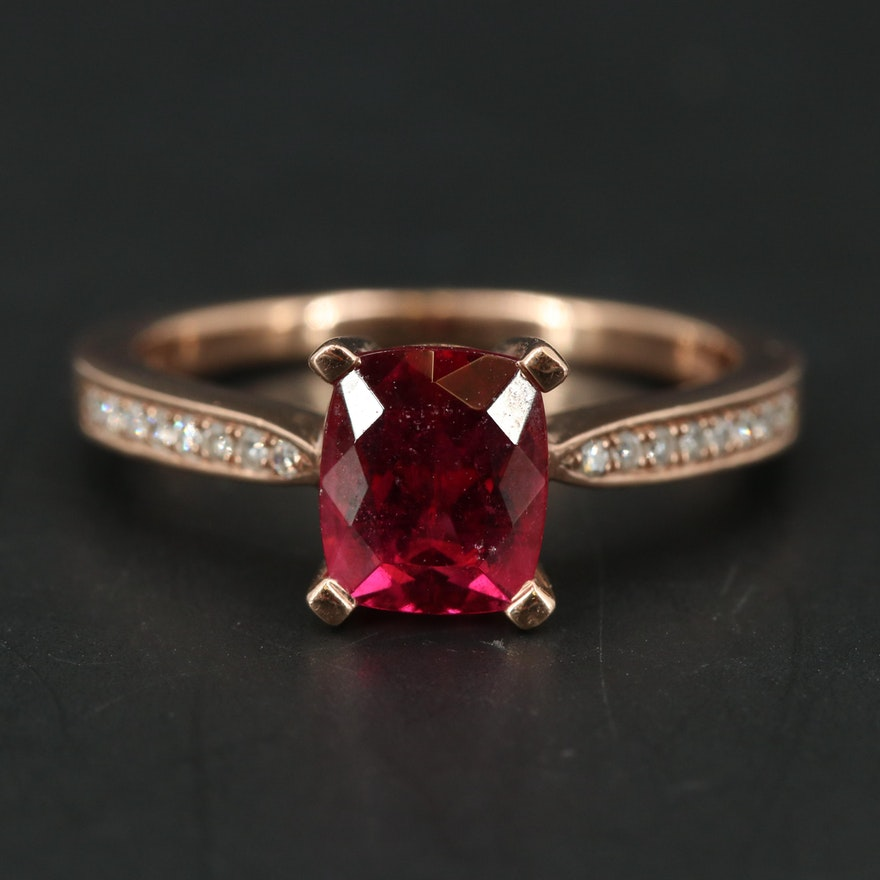 EFFY 14K ROSE GOLD DIAMOND,RUBELLITE RING