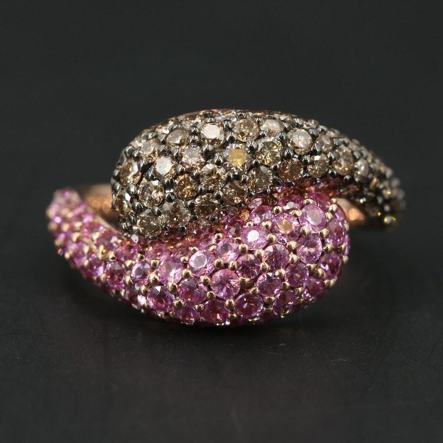 14K ROSE GOLD ESPRESSO DIAMOND, PINK SAPPHIRE RING