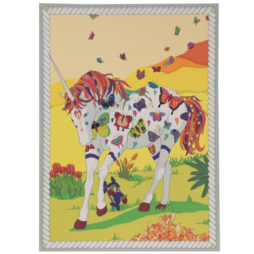 "Susan Tereba Serigraph ""Butterfly Unicorn,"" 1981"