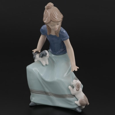 Nao by Lladró Girl with Puppies Porcelain Figurine, Late 20th Century