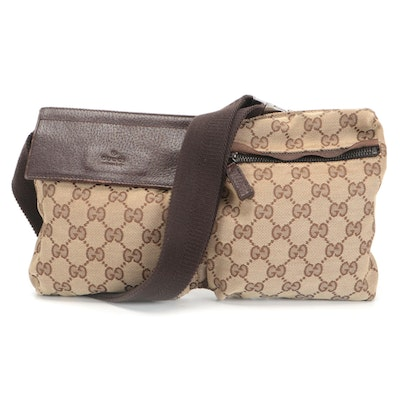 Gucci Double Belt Bag in GG Canvas with Brown Leather Trim