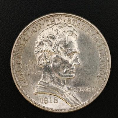 Low Mintage 1918 Illinois Centennial Commemorative Silver Half Dollar