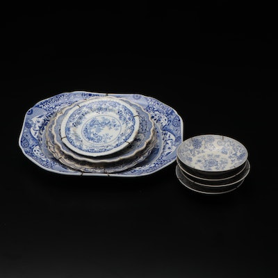 """Spode, Victorian """"Oriental Beauties"""" and Other Blue and White Porcelain Platters"""