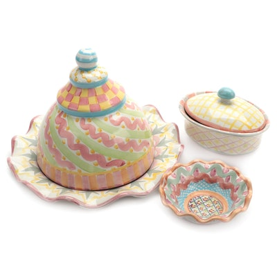 """MacKenzie-Childs """"Heather"""" Bowl with Domed Serving Dish and Covered Dish"""