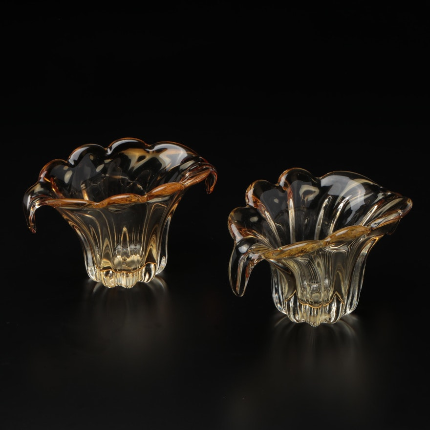Art Glass Translucent Gold Vases