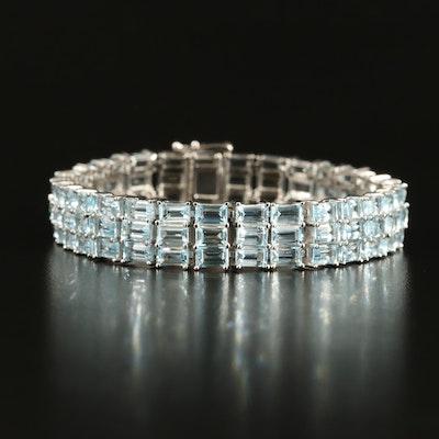 Sterling Sky Blue Topaz Multi-Row Bracelet
