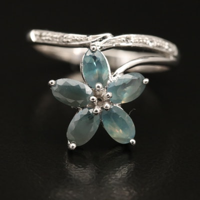 Sterling Alexandrite and Topaz Floral Ring