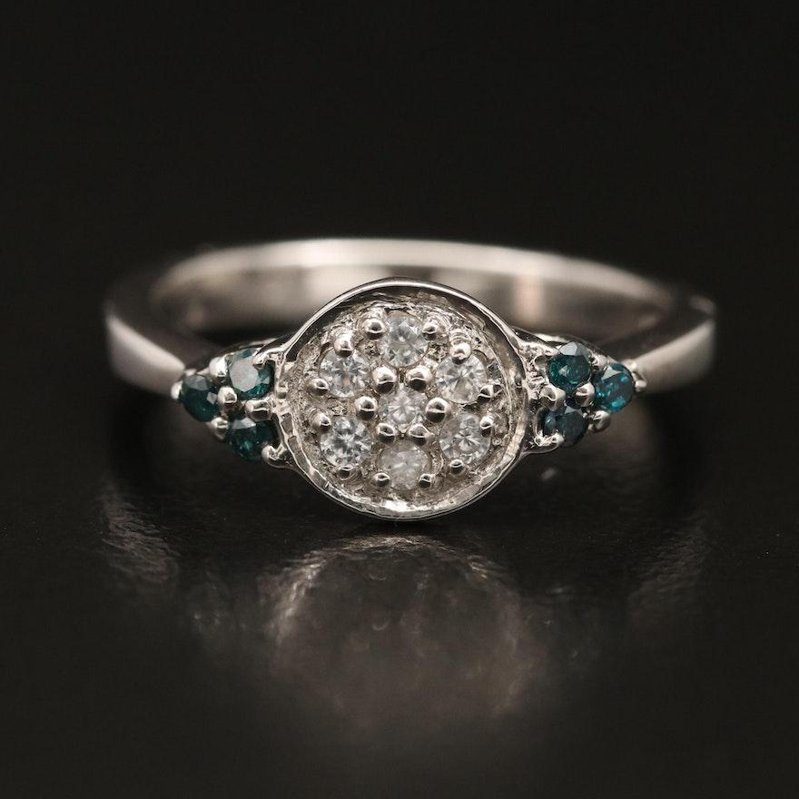 Sterling Zircon and Diamond Ring