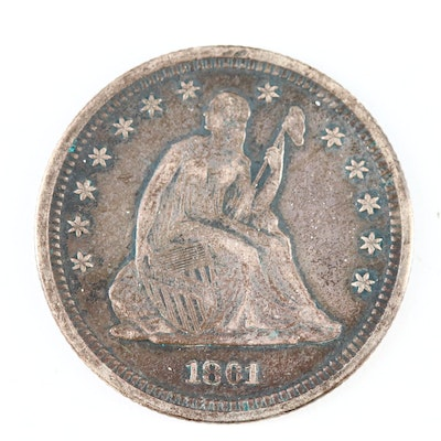 """1861 Seated Liberty """"No Arrows or Rays"""" Silver Quarter"""