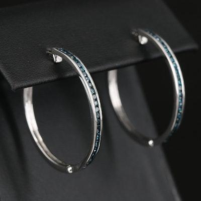 Sterling Channel Set Diamond Hoop Earrings