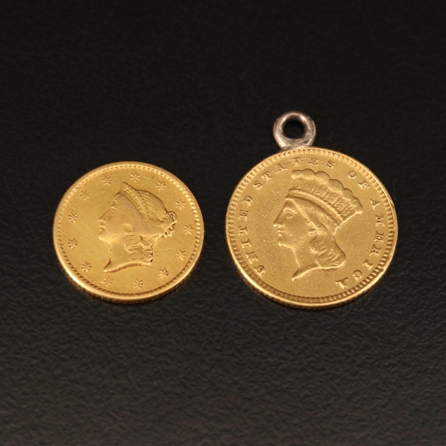 1874 Gold Dollar Coin Pendant with 1850 Gold Dollar Coin