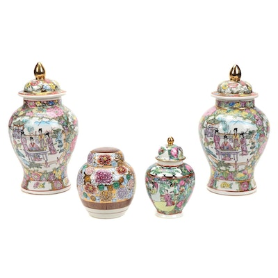 Chinese Famille Rose and Thousand Flowers Ceramic Ginger Jars, Late 20th Century