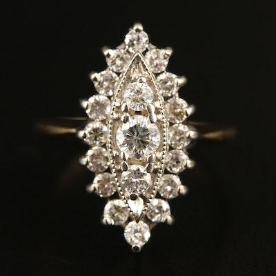 14K 1.03 CTW Diamond Marquise Ring
