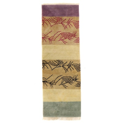 4'1 x 12'7 Hand-Knotted Contemporary Abstract Long Rug