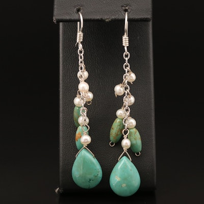 Sterling Turquoise, Pearl and Magnesite Earrings