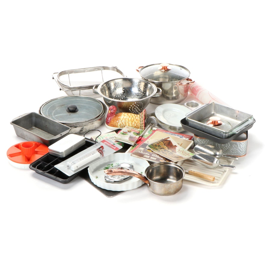Justin WIlson and Other Cookbooks with Assorted Cookware Collection