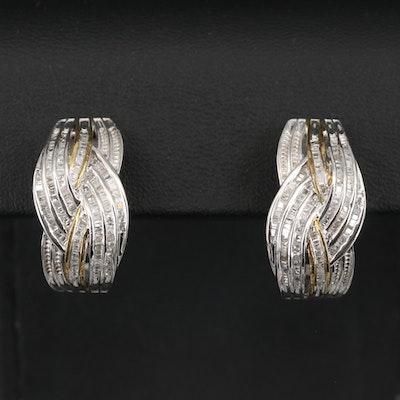 Sterling Diamond J Hoop Earrings