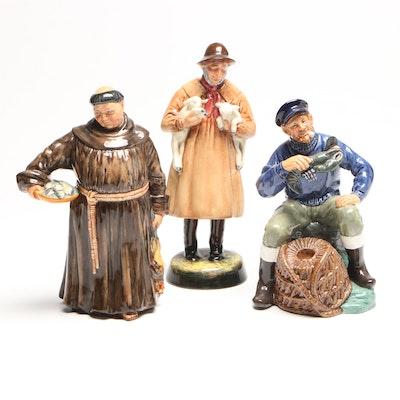 "Royal Doulton Porcelain Figurines, ""Jovial Monk"", ""Lambing Time"", ""Lobster Man"""