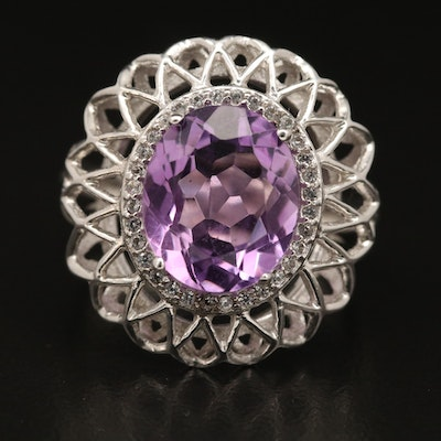 Sterling Silver Amethyst and White Topaz Openwork Halo Ring