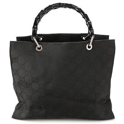 Gucci GG Black Nylon Tote with Bamboo Handles