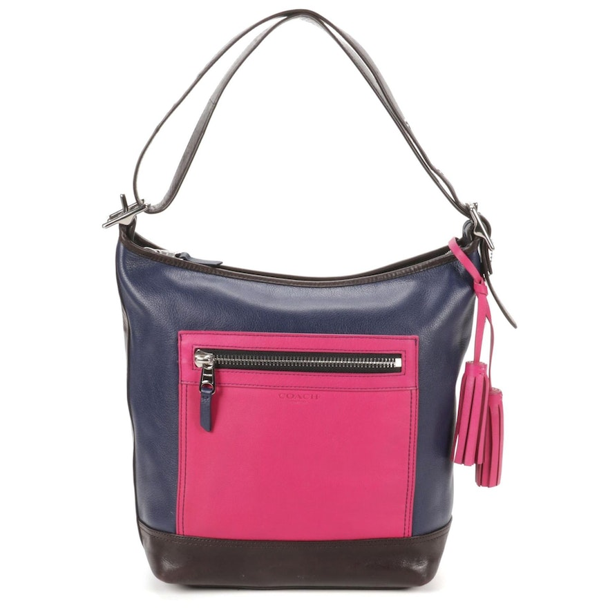 Coach Legacy Color Block Shoulder Bag in Navy, Brown, and Pink Leather