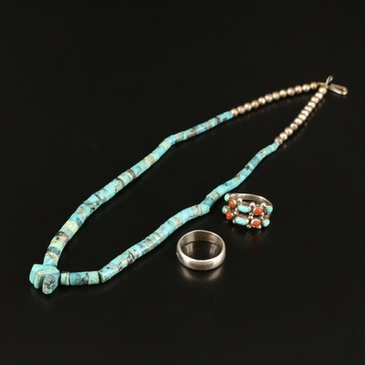 Southwestern Style Turquoise and Coral Jewelry Including Stamped Band