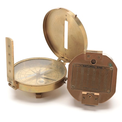 Stanley London Natural Sine and Surveyor Brass Compasses, Mid/Late 20th Century