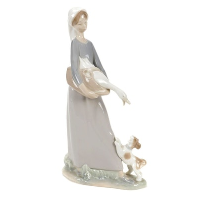 """Lladro """"Girl With Goose And Dog"""" Porcelain Figurine, Late 20th Century"""