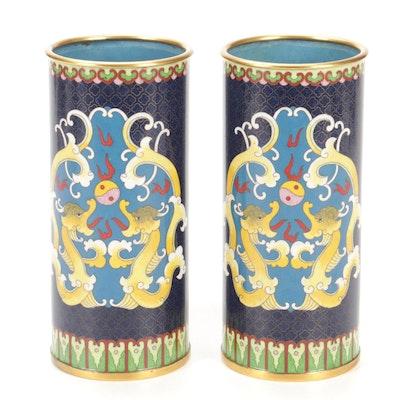 Chinese Cloisonné Enamel Brush Pots