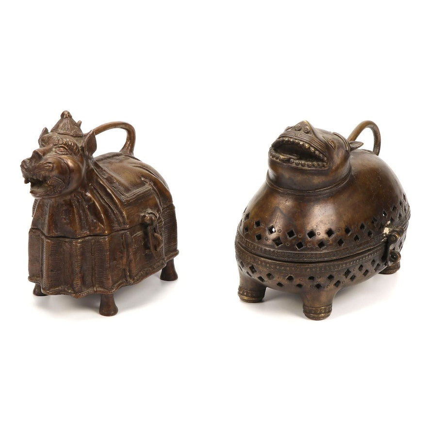 Indian Cast Brass Tiger Boxes, Mid to Late 20th Century