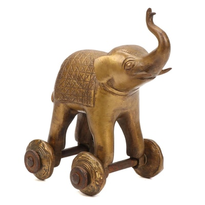 Brass Cast Elephant Temple Toy