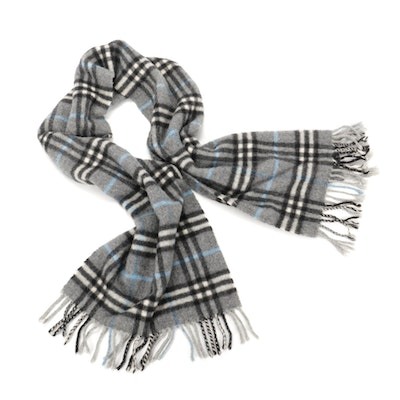 """Burberry Cashmere Fringed Scarf in Grey """"Nova Check"""""""