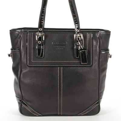 Coach Legacy Hampton Gallery Tote in Black Leather with Patent Leather Trim