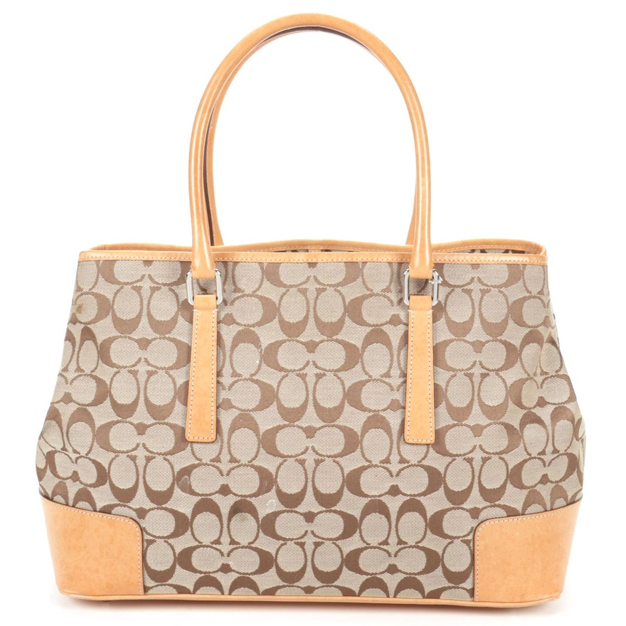 Coach Signature Carry All Tote Bag In Canvas With Light Tan Leather Trim