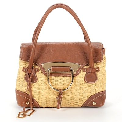 Dolce & Gabbana Woven Rattan and Brown Pebbled Leather Satchel