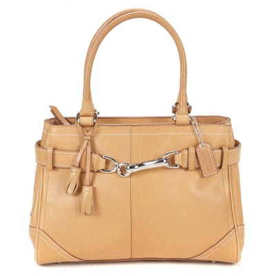Coach Hampton Leather Carryall Bag in Light Tan Leather